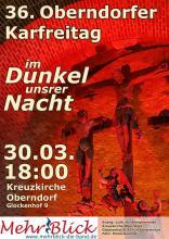 Plakat des Oberndorfer Karfreitags: Kreuzigungsgruppe